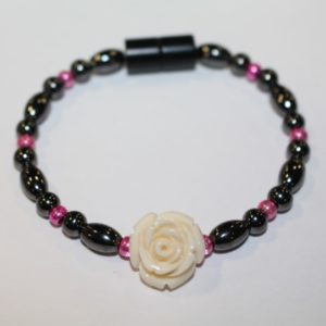 Magnetic Hematite Single Bracelet - Rose Center Stone: Off-white