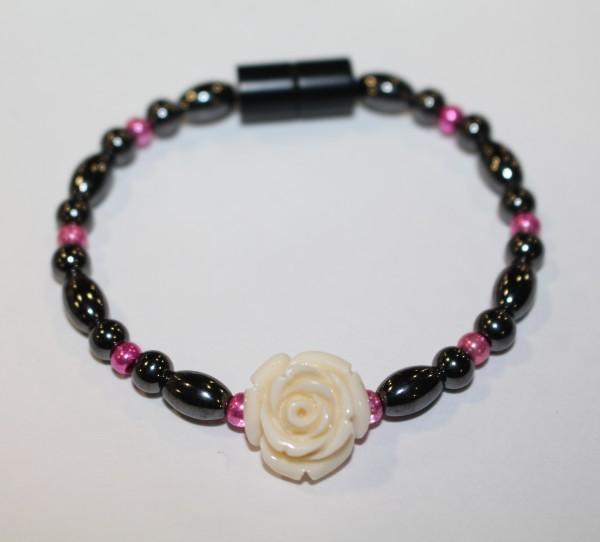 Magnetic Hematite Single Bracelet - Rose Center Stone: Off-white