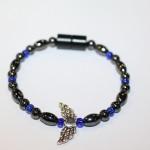 Magnetic Hematite Single Bracelet - Winged Heart Center Stone, Silver, Blue Beads