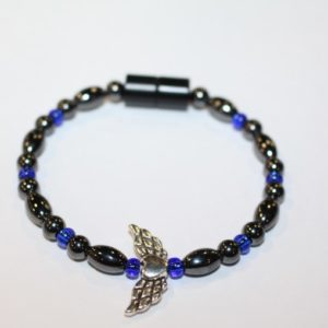 Magnetic Hematite Single Bracelet - Winged Heart Center Stone, Silver, Blue Beads