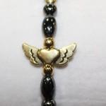 Magnetic Hematite Single Bracelet - Winged Heart Center Stone, Golden, Gold Beads