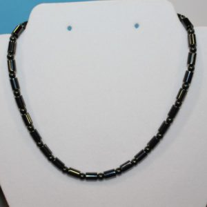 Magnetic Hematite Necklace - Barrel Style, Black Beads