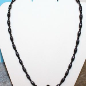 Magnetic Hematite Necklace - Black Diamond Center Stone, Black Beads