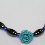 Magnetic Hematite Necklace - Teal Rose Center Stone, Blue Beads