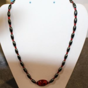 Magnetic Hematite Necklace - Red Center Stone, Red Beads
