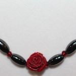 Magnetic Hematite Necklace - Red Rose Center Stone, Red Beads