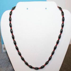Magnetic Hematite Necklace - Hematite and Red Beads
