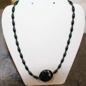 Magnetic Hematite Necklace - Green Agate Center Stone, Green Beads
