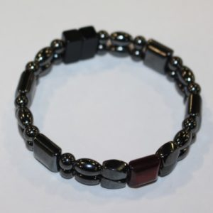 Magnetic Hematite Double Bracelet - Red Tiger Eye Center Stone