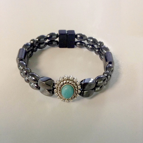 Magnetic Hematite Bracelet: Double Strand–Turquoise Center Stone, Vertical