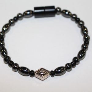 Magnetic Hematite Single Bracelet - Diamond Center Stone